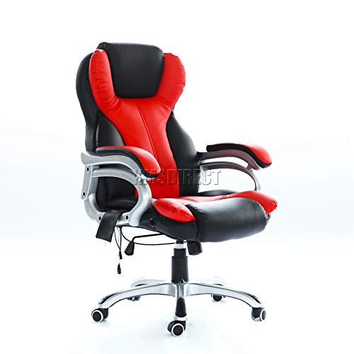 WestWood New Heated Massage Gaming Office Chair | Reclining Home Computer Swivel Seat | orthopedic Lumbar Support Winged Back Chair | Black & Red – MC8074
