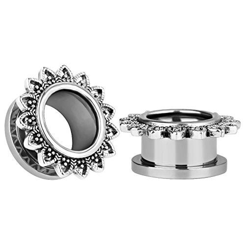 KUBOOZ(1 Pair Simple Retro Screw Ear Plugs Tunnels Gauges Stretcher Piercings 2g to 5/8 inch