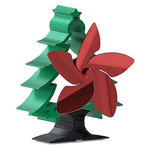 Ventilador de estufa de energía térmica en forma de árbol de Navidad Ventilador de chimenea de 5 aspas para madera/quemador de leña/chimenea para el hogar