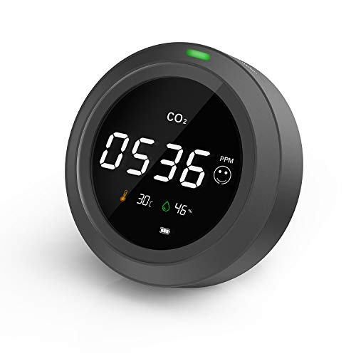 CO2 Messgerät-LifeBasis 3 in 1 Kohlendioxid Detektor, Temperatur-, Feuchtigkeits- und Luftqualitätsmessung, CO2 Meter Monitor Tester mit LCD Anzeige / 0-5000 PPM / 24-Stunden-Echtzeitüberwachung
