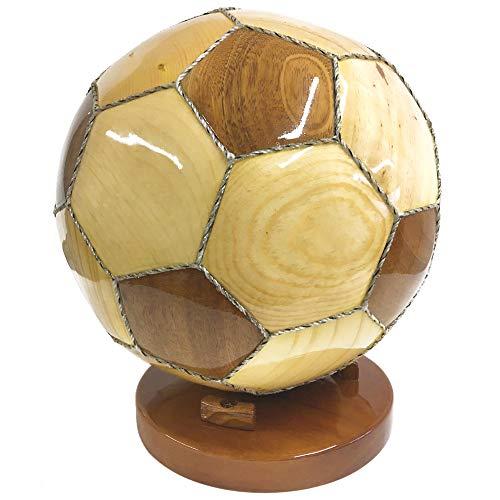 Fußball aus Holz in voller Größe mit Ständer für den Schreibtisch