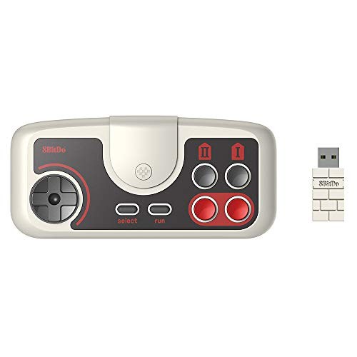 GoolRC Gamepad Inalámbrico de 8 bits Compatible con PC Engine Mini CoreGrafx Mini TubroGrafx-16 Mini Switch (Gris Claro, PCE 2.4g)