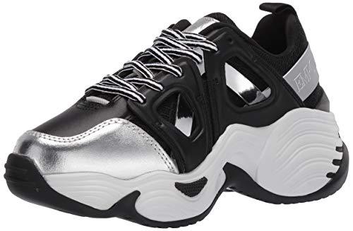 Emporio Armani Damen Color Thick Sole Sneaker Turnschuh, Schwarz und Silber Multi, 42 EU