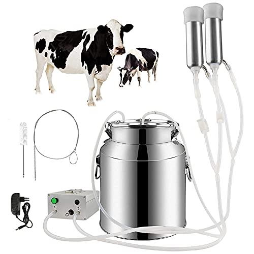 SKYWPOJU Máquina de ordeño de Vacas y Cabras, Ordeñadora de Bomba de vacío de batería Recargable por pulsación, Equipo de ordeño de Ganado portátil automático (Color : Cattle, Size : 7L)