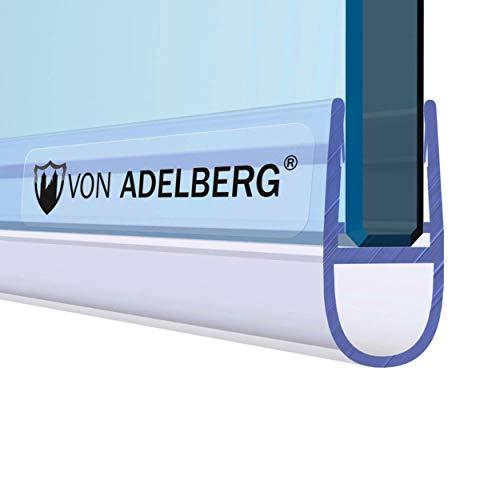 VON ADELBERG Duschdichtung Wasserabweiser Gerade PVC Ersatzdichtung für Dusche Typ: VA007 - Länge: 40 bis 200 cm - Glasstärke: 4, 6, 8, 10, 12 mm, Dichtung Länge:200 cm, Glasstärke:8 mm