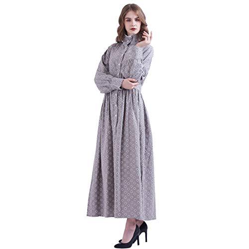 GRACEART Pionier Damen Kostüm Prärie Kleid Dienstmädchen Mädchen Kostüm Einteiliges Viktorianische Zofe (Grau(Reine Baumwolle), Medium)