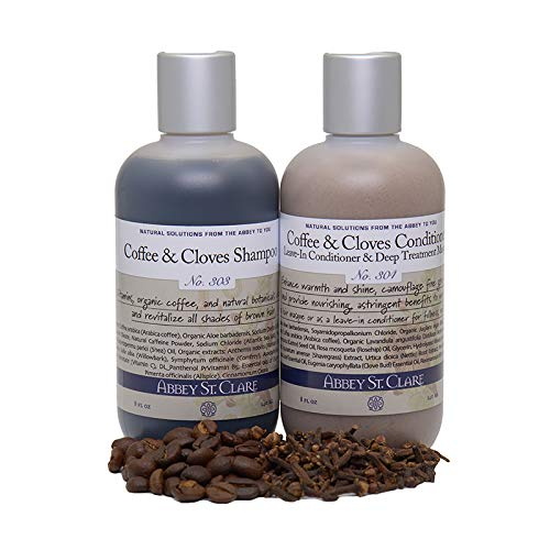 Coffee & Cloves hair care VALUE SET: SHAMPOO/LEAVE-IN CONDITIONER & DEEP CONDITIONING MASQUE for all shades of BROWN hair. NEW ENHANCED FORMULA!
