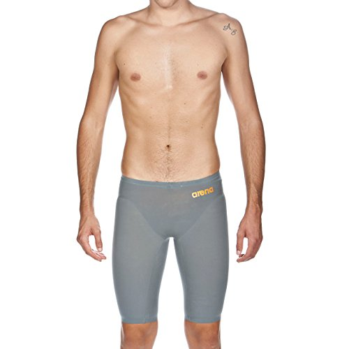 arena Powerskin R-EVO One Men's Jammer Racing Swimsuit, Grey / Bright Orange, 32