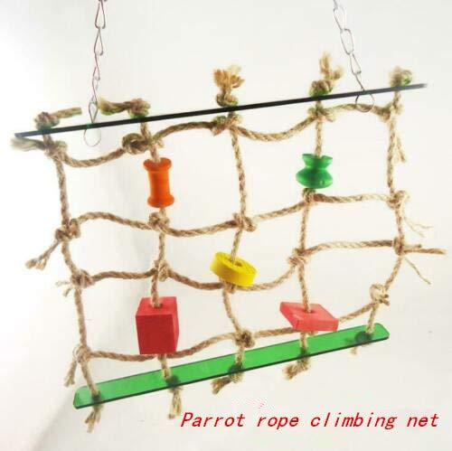 WOOTZ Net Swing Ladder voor Pet Papegaai Klimmen Bijt Hennep Papegaaien Knaag Speelgoed Trappenvogel Trappen Kauwen Staande Kooi Spelen Ophanghaak Jute met brokken