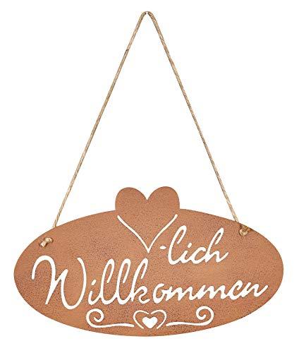 levandeo Schild Willkommen Rost Herz 28,5x16cm Edelrost Garten-Deko Rostdeko Türschild Wandbild Wandschild