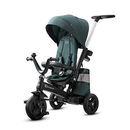 Kinderkraft Triciclo Evolutivo EASYTWIST, Plegable, Asiento Giratorio 360 Grados, 9 Meses a 5 Años, Verde