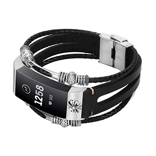 Compatible with Fitbit Charge 4/ Charge 3/SE Bands for Women and Men, CIDETTY Handmade Leather Band, Unique Adjustable Replacement Unique Bracelet Strap Wristbands (B - Black with Flower)