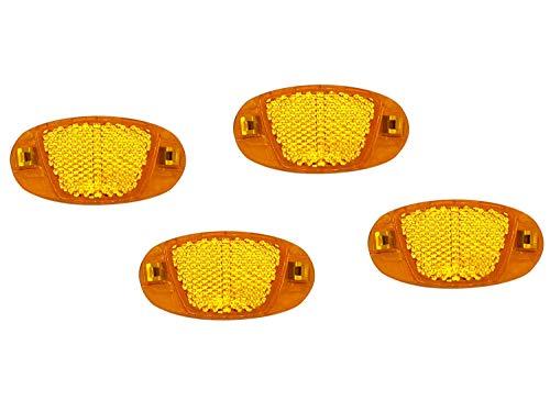JABs 4 Stück Speichen Reflektoren Bruchsicher mit Stahlclipse für Fahrräder Katzenaugen Orange 4er Set Seitenstrahler mit Prüfzeichen nach StVZO fürs Fahrrad Vier Stück