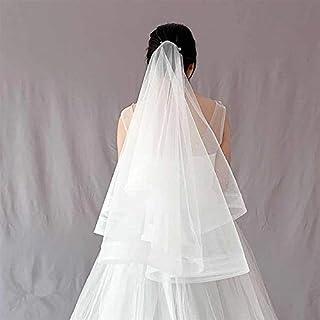 SimpleLife Velo da Sposa Sposa Donne Strato Bianco Gomito Bordo Pizzo Pizzo con Pettine