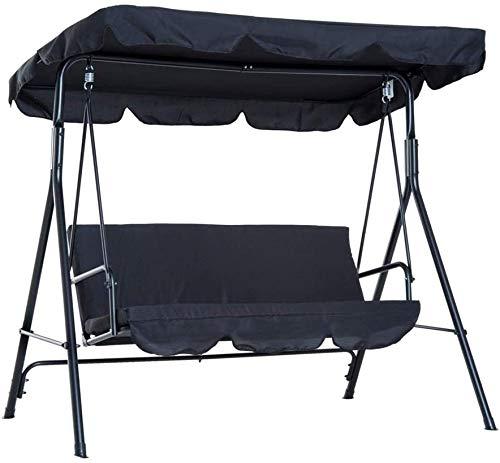 SFGHOUSE Ersatz-Vordach für Hollywoodschaukel, 2-Sitzer, Abdeckung für Garten/Terrasse/Außenbereich (Schwarz)
