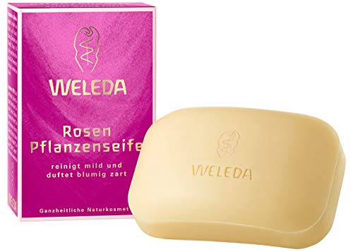 WELEDA Rosen Pflanzenseife, vegane Naturkosmetik Kernseife mit ätherischen Ölen pflegt strapazierte und beanspruchte Hände besonders mild, erzeugt einen cremigen Schaum (1 x 100 g)