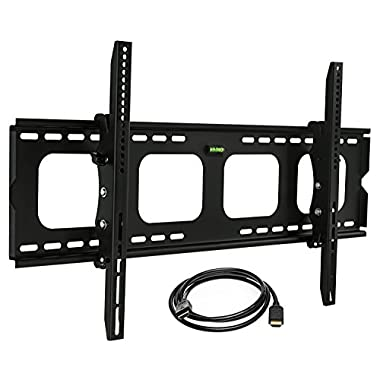 Mount-It! Tilt TV Wall Mount Bracket for 40 - 80 inch LCD, LED, or Plasma Flat Screen TV - Super-strength Load Capacity 220 lbs - 15 Degree Tilt Up & Down, Max VESA 850x450 FREE 6 ft HDMI cable