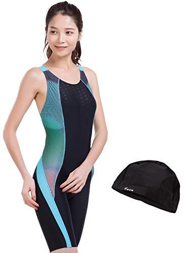 SS4R(エスフォーアール)競泳水着フィットネス水着ワンピースオールインワンレディース体系カバースリムデザインフィットネス水着競泳用練習用大きいサイズS/M/L/O/XOsw-l-15(ブラック,O(XL))