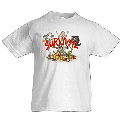 getshirts - Gronkh Official Merchandising - Kids Shirt Premium - Survival - White 164
