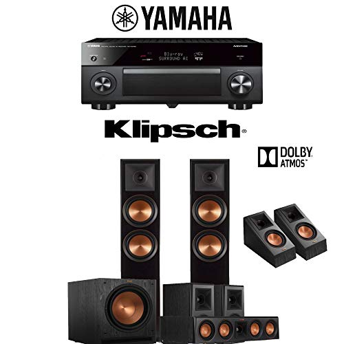 Klipsch RP-6000F 5.1.2-Ch Reference Premiere Dolby Atmos Home Theater Speaker System with Yamaha AVENTAGE RX-A2080 9.2-Channel 4K Network AV Receiver