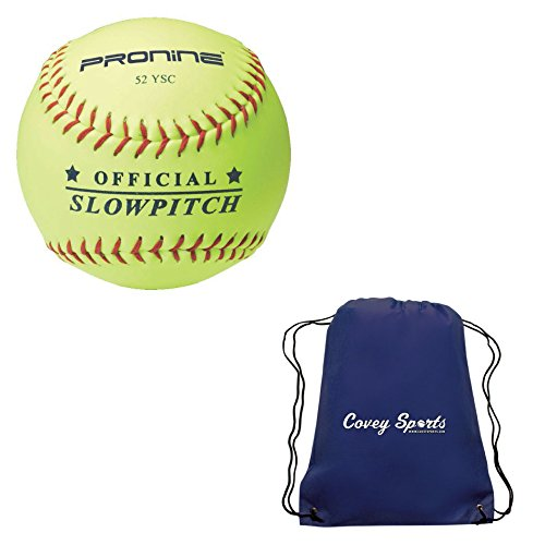 ProNine Slowpitch Softballs 12 Inch Ball, 52 Core (3-Pack) Bundled with Covey's Bag