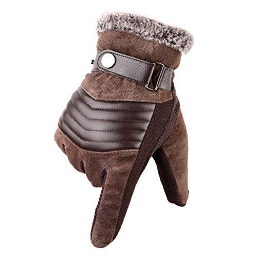 Jfsmgs Guantes Guantes de Piel de Piel de Cerdo para Hombre Negro/marrón Invierno cálido Grueso vellón Guantes para Hombres para Montar en el esquí. (Color : A Brown)