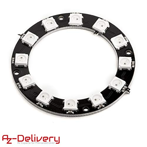 AZDelivery 5V RGB LED Ring WS2812B 12-Bit 50mm Arduino