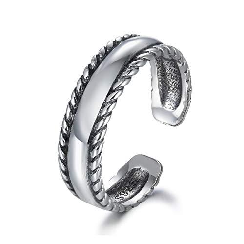 Anillo de compromiso de plata de ley con 3 capas ajustable de la eternidad de SNORSO anillo de compromiso de cuerda trenzada para mujer