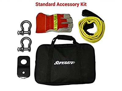 SuperATV Standard Winch Accessory Kit - Includes Carrying Bag, Tree Saver, D-Rings (2), Pully Block, and Gloves!