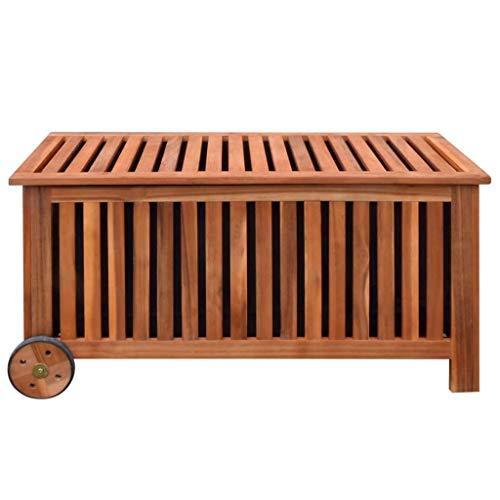vidaXL 41772 Aufbewahrungsbox Gartentruhe Gartenbox Kissenbox + Räder Holz 118x52x58cm, One Size - 3