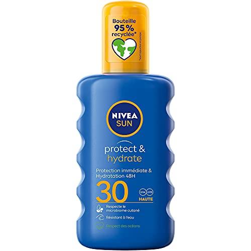 NIVEA SUN Spray solaire Protect & Hydrate FPS 30 (1 x 200 ml), crème solaire haute protection, protection solaire pour adultes hydratante et résistant