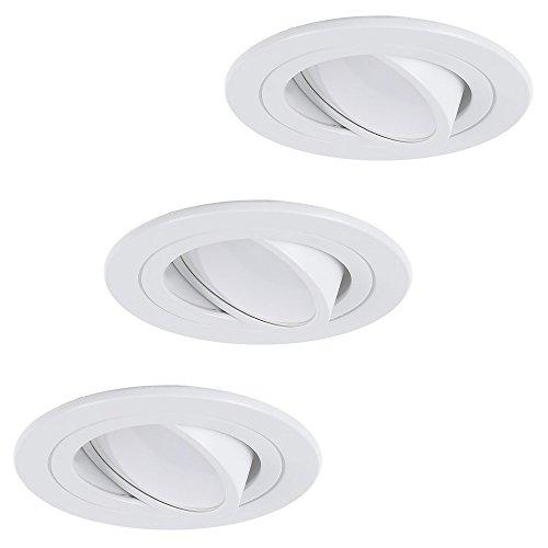 LED-Einbaustrahler 3er Set | Einbauleuchte weiß rund | Einbauspot schwenkbar 3fach dimmbar | Decken-Einbaustrahler universell einsetzbar | Deckenspot Switchmo + LED-Leuchtmittel