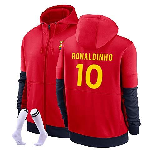 Ronaldinho # 10 Football Sudadera con Capucha Suéter De Fútbol Cálido Y Grueso Sudadera Unisex S-3XL (Color : D, Size : Adult Large)