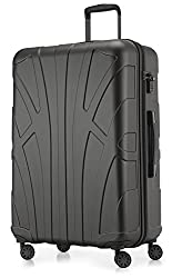 Suitline Large Hard Case Suitcase Trolley Roll Case XL Travel Case, TSA, 76 cm, approx. 86 liters, 100% ABS Matt, Graphite / Gray