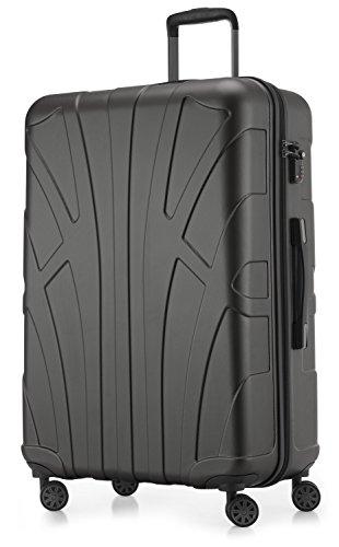 Suitline großer Hartschalen-Koffer Koffer Trolley Rollkoffer XL Reisekoffer, TSA, 76 cm, ca. 96-110 Liter, 100% ABS Matt, Graphite/Grau