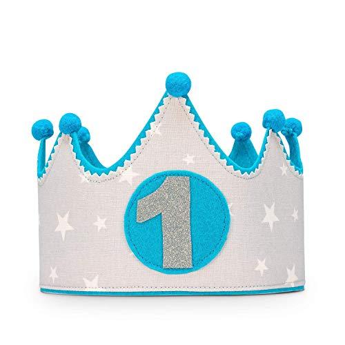 Kembilove Corona Primer Cumpleaños Bebe – Corona Tela Cumpleaños – Corona Cumpleaños Infantil – Corona Primer Cumpleaños – Corona Niño y Niña – Corona estrellas azul y gris