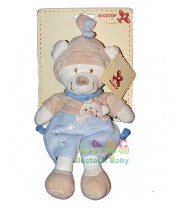 Schmusetuch Bär blau beige Nicotoy 32cm 579/0161