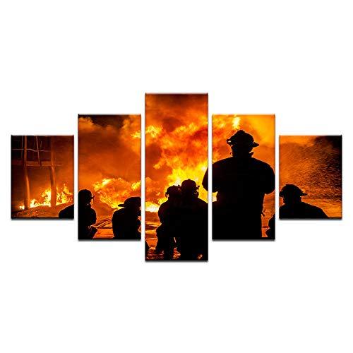 YQSL Leinwanddrucke 5 Panels Große Wand Leinwand Tapfere Feuerwehr Silhouette Gedruckt Wohnkultur Wohnzimmer Leinwand Malerei Wandkunst Bild Drucke auf Leinwand