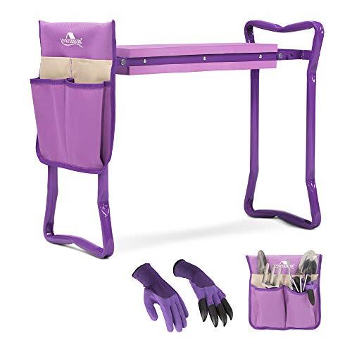 Garden Kneeler and Seat Stool Garden Folding Bench with Tool Pocket,Garden Gloves and Soft EVA Kneeling Pad for Gardening Lovers,Purple