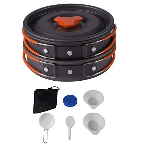 Wenjie 8PCS Ligero Acampar al Aire Libre Senderismo Utensilios de Cocina Mochilero Cocinar Picnic Tazón Pot Pan Set Portátil Compacto Durable – Negro
