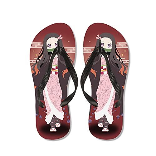 WWZY Hombres Flip Flops Chanclas Anime Kimetsu No Yaiba 3D Impresión Kamado Nezuko Verano Playa Piscina Ducha Interiores Zapatillas,Blanco,EU 43~44(290)