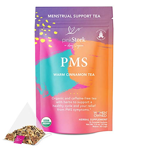 Pink Stork PMS Tea: Warm Cinnamon Tea, 100% Organic, Natural Period Relief from Bloating, Cramping, Heavy Flow, Nausea Relief, + Hormonal Migraine Relief, Women-Owned, 30 Cup