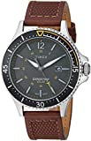 TIMEX Analogue Men's Watch (Dark Green Dial Brown Colored Strap)