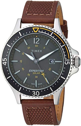 Timex Men's TW4B15100 Expedition Ranger Solar Brown/Dark Green/Orange Accent Leather Strap Watch