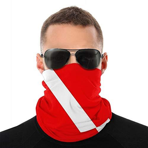 Scuba Diving DEEP Dive Flag Men Women Neck Warmer Face Mask Bandanas Hat White