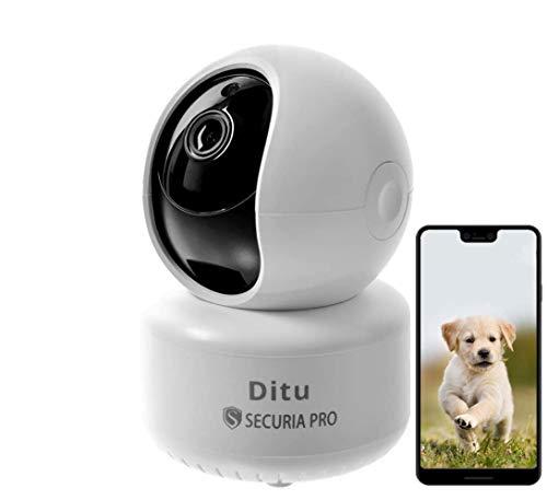 SECURIA PRO DiTu - 1080P WLAN IP Kamera mit Nachtsicht, Überwachungskamera mit aufzeichnung, bewegungssensor, SD Karte, 360 Grad Schwenkbare Kameras kompatibel mit IOS/Android, Zwei-Wege-Audio