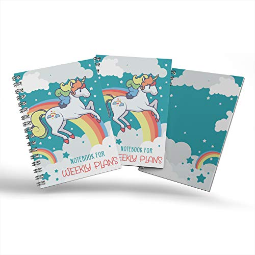 No 5. Notebook for weekly plans, Paperback Notebook, Stars and little rainbow on blue sky with a...