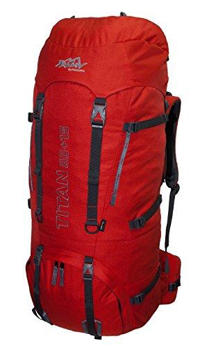 Tashev Outdoors Titan Trekkingrucksack Wanderrucksack Damen Herren Backpacker Rucksack groß 80L, in vielen Farben (Hergestellt in EU) (Rot)