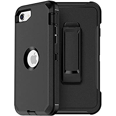 MXX iPhone SE 2020 Heavy Duty Protective Case with Screen Protector [3 Layers] Rugged Rubber Shockproof Protection Cover & Rotating 360 Degree Belt Clip for Apple iPhone SE 2020 (Black)