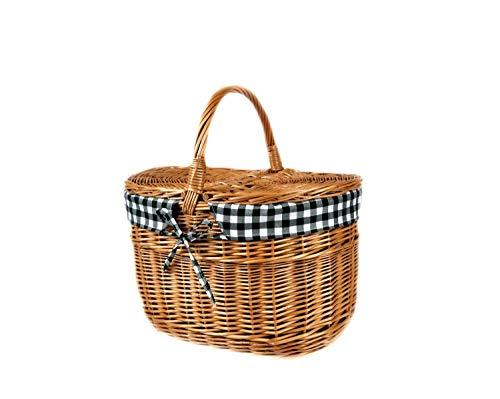MyBer® mand picknickmand draagmand met 2 deksels rieten mand volledig wilgenmand gevlochten boodschappenmand K12-027-SDGW